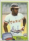 BILLY SAMPLE 1981 TOPPS  AUTO BASEBALL CARD PSA/DNA