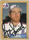 BRYN SMITH   AUTOGRAPHED  1987 TOPPS  BASEBALL CARD