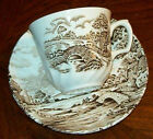 Vtg Ridgway Staffordshire Brown Transferware COUNTRY DAYS Pattern Cup/Saucer