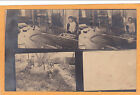 Real Photo Postcard RPPC Multiview Boy  Toy Train  Children as Native American