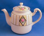 JAPANESE 1920s TEAPOT WITH LID, FLOWER & STRIPE PATTERN