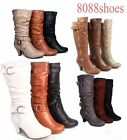 Fashion Low Heel Mid Knee Calf Zipper Dress Boots Womens Shoes Size 5 10 NEW