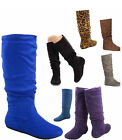 Womens Casual Comfort Mid Calf Knee High Round Toe Slouch Flat Heel Boot Shoes