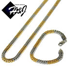24MENs Stainless Steel 6x3mm Silver Gold Cuban Curb Chain Necklace Bracelet