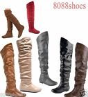 Womens Comfort Round Toe Flat Low Heel Slouchy Thigh High Boot Shoes 5 11