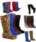 Womens Cute Slouch Comfort Casual Flat Heel Mid Calf Round Toe Boot shoes New