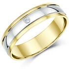 9ct Two Colour Gold Ring Diamond Wedding 5mm.6mm Band
