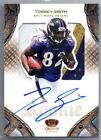 TORREY SMITH 2011 PANINI CROWN ROYALE JUMBO 3 COLOR PATCH ON CARD AUTO # 299 RC