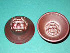 2 RARE Guinomi Japanese SAKE Face CUPS Demon Devil ONI OTAFUKU Stoneware JAPAN