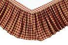 KING BEDSKIRT RED KHAKI GINGHAM CHECK CAMBRIE LANE L 80