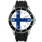 Finland Country Flag Mens Ladies Unisex Black Jelly Silicone Wrist Watch S410E