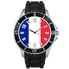 France Country Flag Mens Ladies Unisex Black Jelly Silicone Wrist Watch S411E