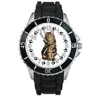 Maine Coon Kitten Cat Mens Ladies Black Jelly Silicone Quartz Wrist Watch S149E