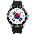 South Korea Flag Mens Ladies Unisex Black Jelly Silicone Band Wrist Watch S532E