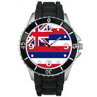 Hawaii State Flag Mens Ladies Unisex Black Jelly Silicone Wrist Watch S575E