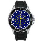 Indiana State Flag Mens Ladies Unisex Black Jelly Silicone Wrist Watch S578E