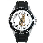 Oriental Kitten Cat Mens Ladies Black Jelly Silicone Band Wrist Watch S196E