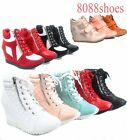 Womens High Top Lace Up Wedge Fashion Sneaker Ankle Shoes NEW Size 55 10