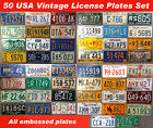 ALL 50 UNITED STATES VINTAGE LICENSE PLATE SET NUMBER TAG LOT USA RARE 1960s 90s