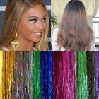 300 Strands Holographic Sparkle Woman Hair Ext Glitter Tinsel Extensions Dazzles