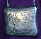 1890s Northwind Face Design Solid Sterling Slver Evening Purse + Chain Signed