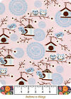 SNUGGLE FLANNEL BTY Cotton Fabric Owl Scenic Pink Birdhouse