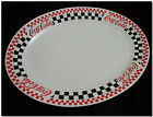 Coca Cola serving tray dish platter oval white w black and white checkers Gibson