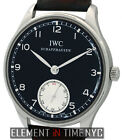 IWC Portuguese Hand Wound Stainless Steel 44mm Black Dial IW5454-04 B+P