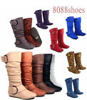 Womens Flat Zipper Buckle Slouchy Mid Calf Knee High Boot Shoes Size 5 11 NEW