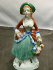 Occupied Japan Porcelain Colonial Lady Holding Flower Basket Figurine-6