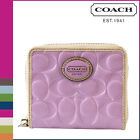 COACH Peyton Signature Embossed Medium Zip Around Wallet Orchid/Tan F48399 NWT