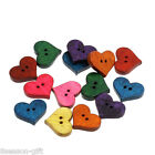 100PCs Wood Sewing Buttons Heart shaped Scrapbooking Mixed 20mm x165mm