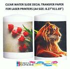 CLEAR WATER SLIDE DECAL TRANSFER PAPER FOR LASER PRINTERS 50 SHEETS A4 SIZE