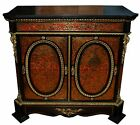 Large 2-Door Boulle Red Cabinet/Credenza with Marble Top #6284