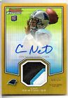 2011 BOWMAN CHROME CAM NEWTON GAME WORN PATCH AUTO GOLD REFRACTOR 09 10