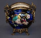 Signed Antique Majolica Hand Painted Floral Vase With Bronze Handles and Base
