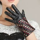 Women Lady's Winter lambskin Leather Warm driving Gloves half Checkered Braid