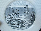 Vintage Petrus Regout Maastricht Black and White Plate Toreador Bull Fighter