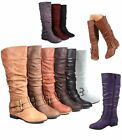 Womens Fashion Low Flat Heel Mid Calf Knee High Riding Boot Shoes Size 5 11
