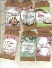 12 PRIMITIVE TAGS~Birthday Wishes!~HANG TAGS~folk~Grungy
