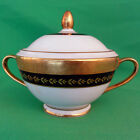 Minton Imperial Gold Cobalt Covered Sugar Bowl 4.5 inches tall