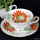 Vintage Japan REGINA Noritake Hand-Painted Orange Floral Tea Cup & Saucer Set