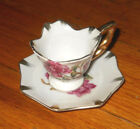 ENESCO~JAPAN~MINI CUP & SAUCER~ PINK FLORAL DESIGN~GOLD RIM & HANDLE