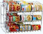 NEW Can Rack Organizer Chrome Finish Stackable Holds 36 Increase Storage Sturdy
