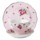 New Country Roses Pink Vintage 3-Piece Tea Set by Royal Albert