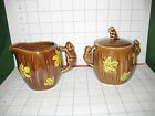 CUTE 1950s Shafford Pottery Sugar Creamer Beaver Handles Maple Leaves!