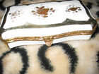 Antique  Porcelain Box Hinged Lid HAND  Painted GOLD ACCENTS LIDDED 6 X 3  1/2
