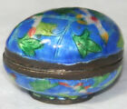 ORIGINAL ANTIQUE C1800~~Floral ENAMEL EGG hinged THIMBLE HOLDER~~RaRe 2