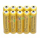 10x AAA 1800mAh 1.2V Ni-MH Rechargeable battery 3A Yellow Cell for MP3 RC Toys