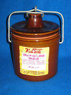 Dark Brown VTG Stoneware Cheese Butter Crock w Lid Wire & Rubber Ring GUC
